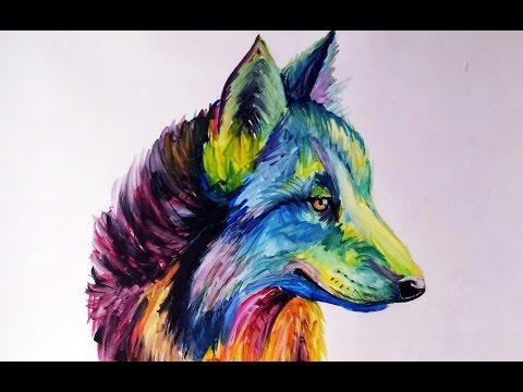 Como Dibujar Un Lobo De Colores