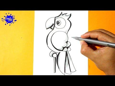 Como dibujar un Loro muy fácil