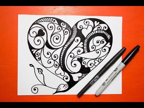 Como dibujar un Mandala corazón