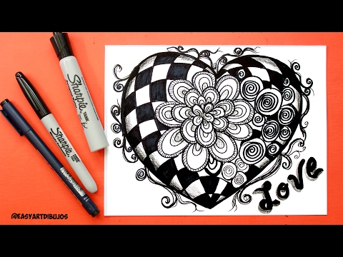 Como dibujar un Mandala en forma de corazón
