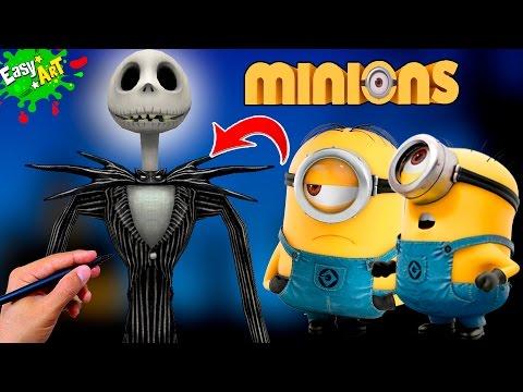 Como dibujar un Minion estilo Jack Skeleton