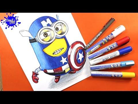 Como dibujar un Minion vestido del Capitán América