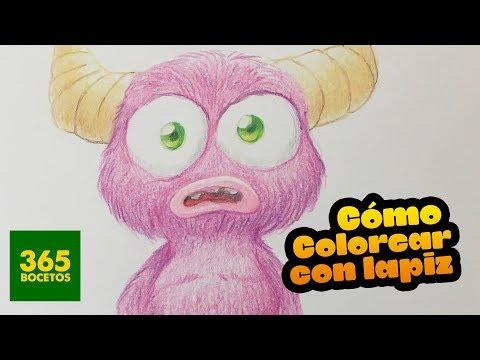 Como dibujar un Monstruo con lápices de colores