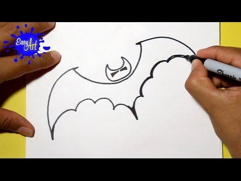 Como dibujar un Murciélago para Halloween fácil