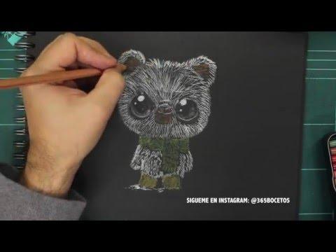 Como dibujar un oso polar Kawaii sobre negro