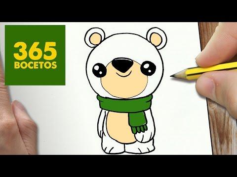 Como dibujar un Oso Polar muy simpático
