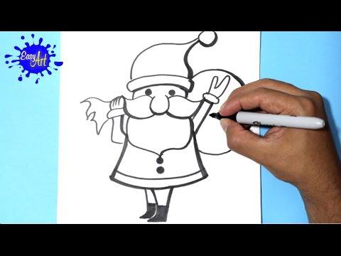 Como dibujar un Papá Noel para Navidad
