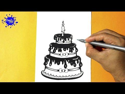 Como dibujar un Pastel de cumpleaños fácil