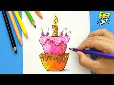 Como dibujar un pastel de cumpleaños