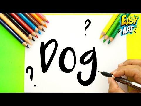 Como dibujar un perro a partir de sus letras