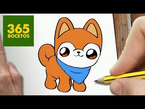 Como dibujar un perro Akita con foulard