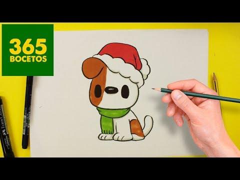 Como dibujar un Perro kawaii en Navidad