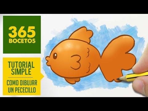 Como dibujar un pez kawaii fácil