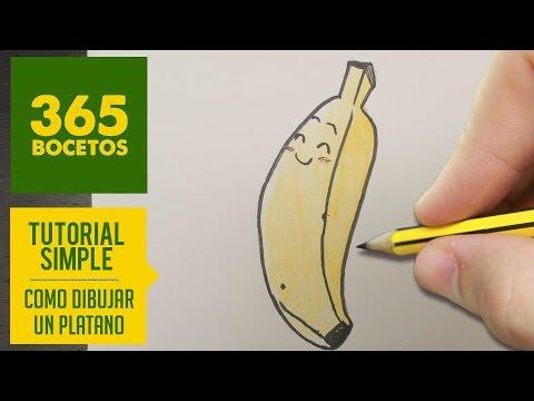 Como dibujar un plátano kawaii