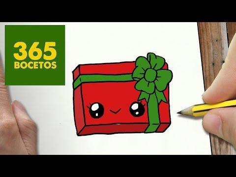 Como Dibujar Un Regalo De Navidad Con Lazo Kawaii