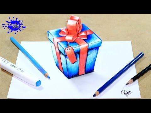 Como dibujar un Regalo de Navidad en 3D