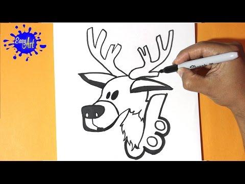 Como dibujar un Reno para Navidad muy fácil