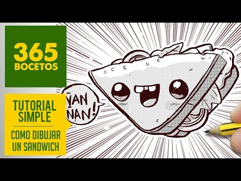 Como dibujar un Sandwich kawaii