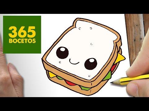 Como dibujar un sándwich vegetal sonriente