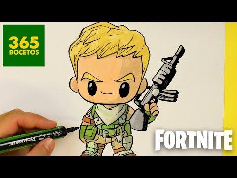 Como dibujar un soldado de Fortnite kawaii