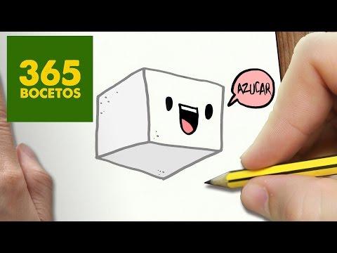 Como dibujar un terrón de azúcar muy dulce