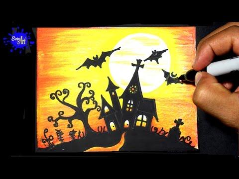 Como dibujar un terrorífico Castillo de Halloween