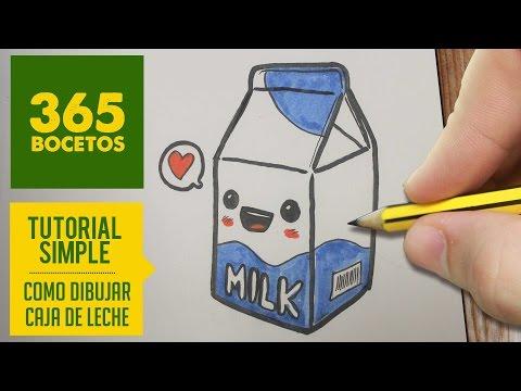Como dibujar un Tetra Brik de leche kawaii