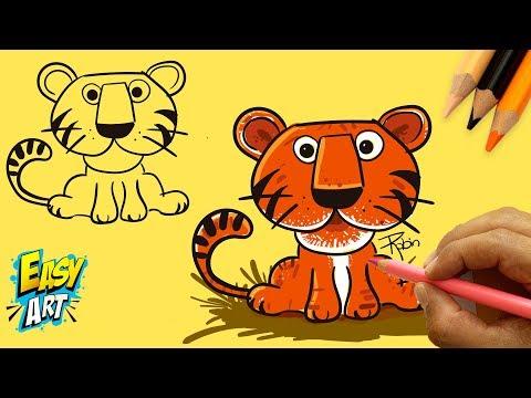 Como dibujar un tigre fácil