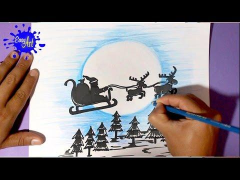 Como dibujar un Trineo para Navidad