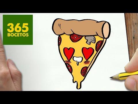 Como dibujar un trozo de Pizza enamorado