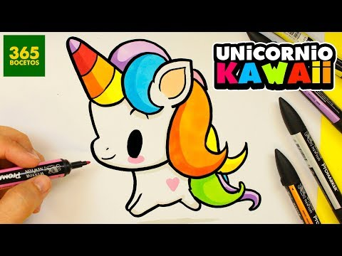 Como dibujar un Unicornio kawaii fácil