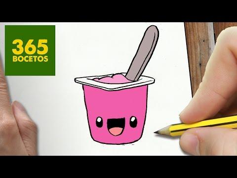 Como dibujar un Yogur kawaii paso a paso