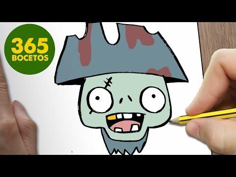 Como dibujar un Zombie pirata de Halloween