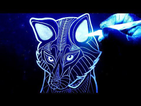 Como dibujar un Zorro con tinta brillante en la oscuridad