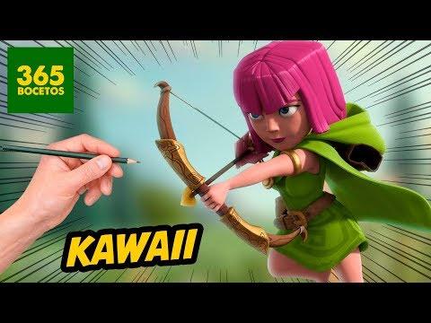 Como dibujar una Arquera de Clash Royale kawaii