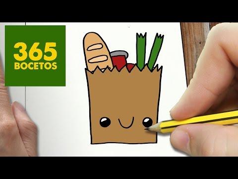 Como dibujar una Bolsa de la Compra kawaii