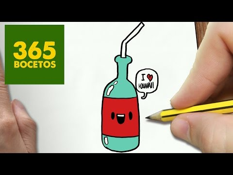 Como dibujar una botella kawaii