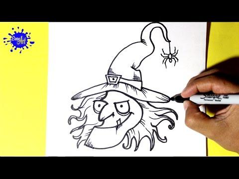 Como dibujar una Bruja para Halloween fácil