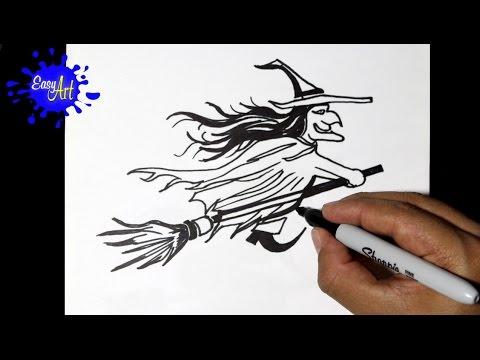 Como dibujar una Bruja para Halloween
