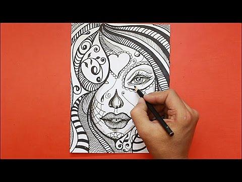 Como dibujar una cara de mujer estilo Mandala