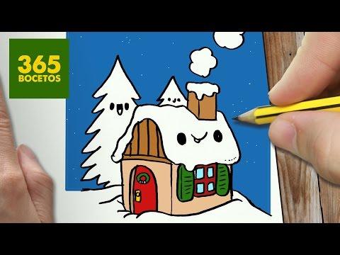 Como Dibujar Una Casa Kawaii De Navidad