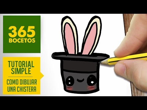 Como dibujar una chistera con conejo kawaii