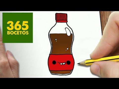 Como dibujar una Cocacola kawaii