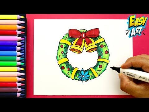 Como dibujar una Corona para Navidad