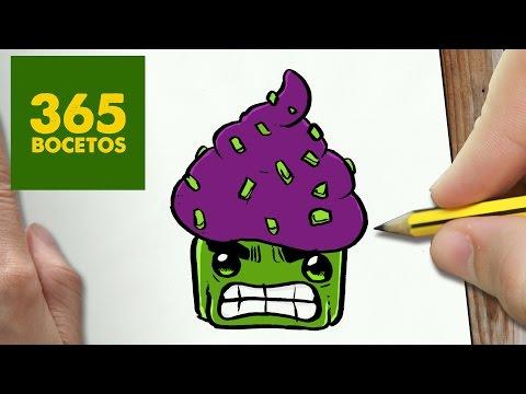 Como dibujar una Cupcake estilo Hulk
