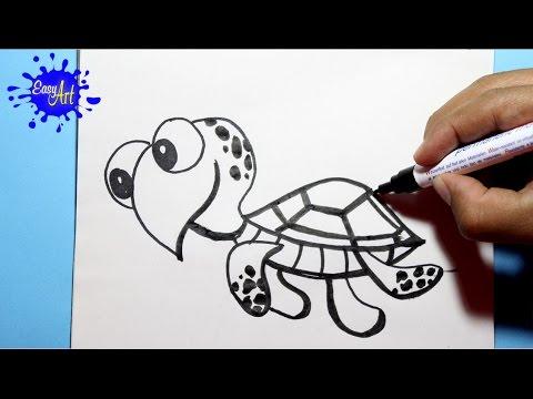 Como dibujar una divertida Tortuga