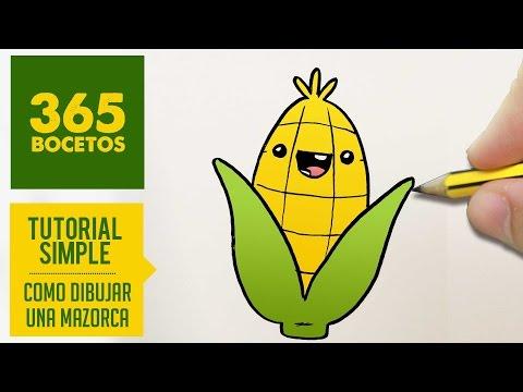 Como dibujar una dulce mazorca de maíz