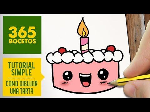 Como dibujar una dulce tarta de cumpleaños