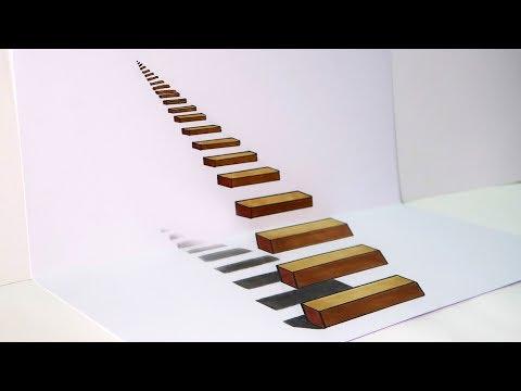 Como dibujar una Escalera 3D muy fácil