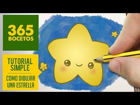 Como dibujar una estrella kawaii